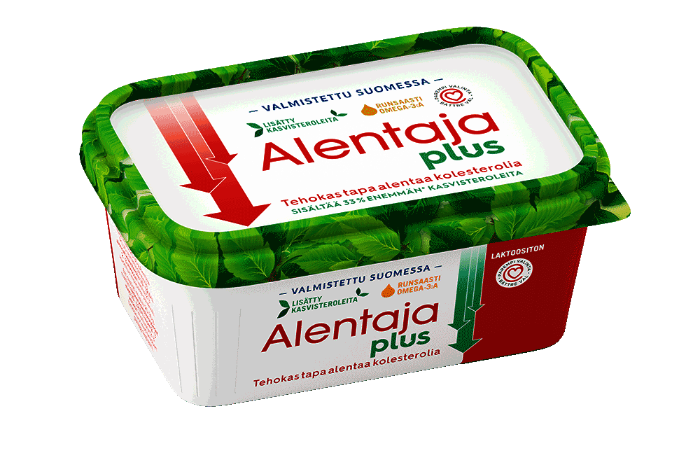 Kohonnutta kolesterolia alentava vähärasvainen Alentaja Plus kasvirasvalevite 50 % 375 g
